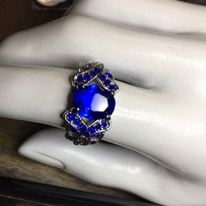 Royal Blue Intricate Ring Size 6